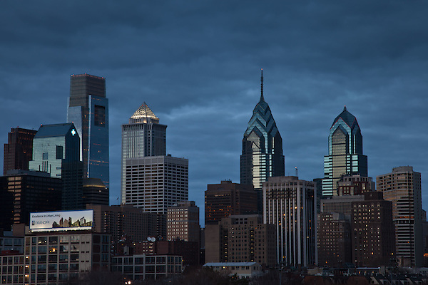 Philadelphia Dramatic Skyline at Twilight, captured from South Bridge. (Thierry Carlier)