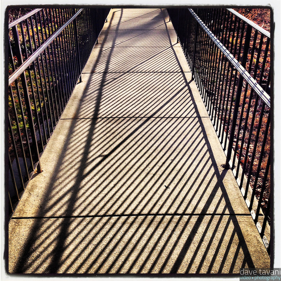 The railing at Summit Presbyterian Church in Mt. Airy creates a repeating pattern shadow on March 3, 2013. (Dave Tavani)