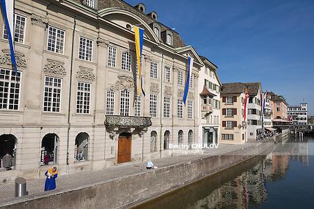 ZURICH, SWITZERLAND - APRIL 11, 2011: View to the historical buildings in Zurich, Switzerland. (Dmitry Chulov)