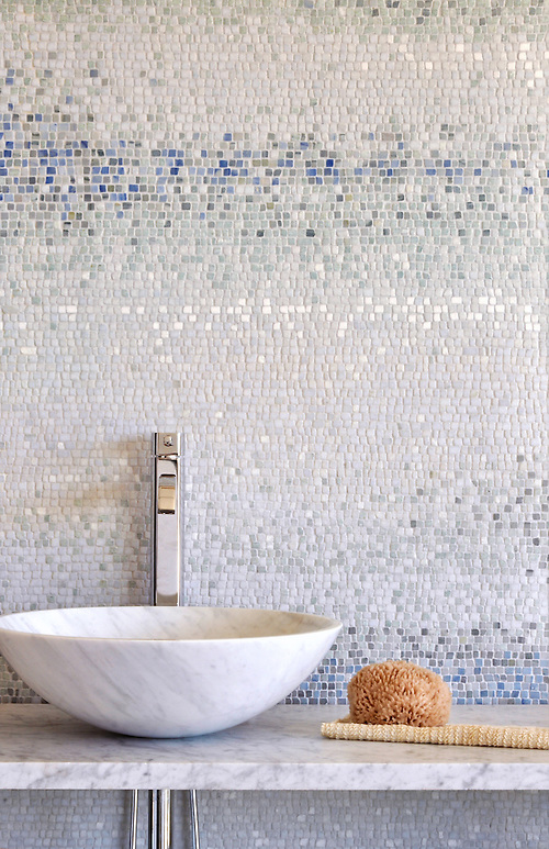 Mist, a hand chopped stone mosaic shown in tumbled Ming Green, Kays Green, Celeste, Calacatta, Blue Macauba and Lettuce Ming, is part of the Metamorphosis Collection by Sara Baldwin for New Ravenna Mosaics. (New Ravenna Mosaics 2006)