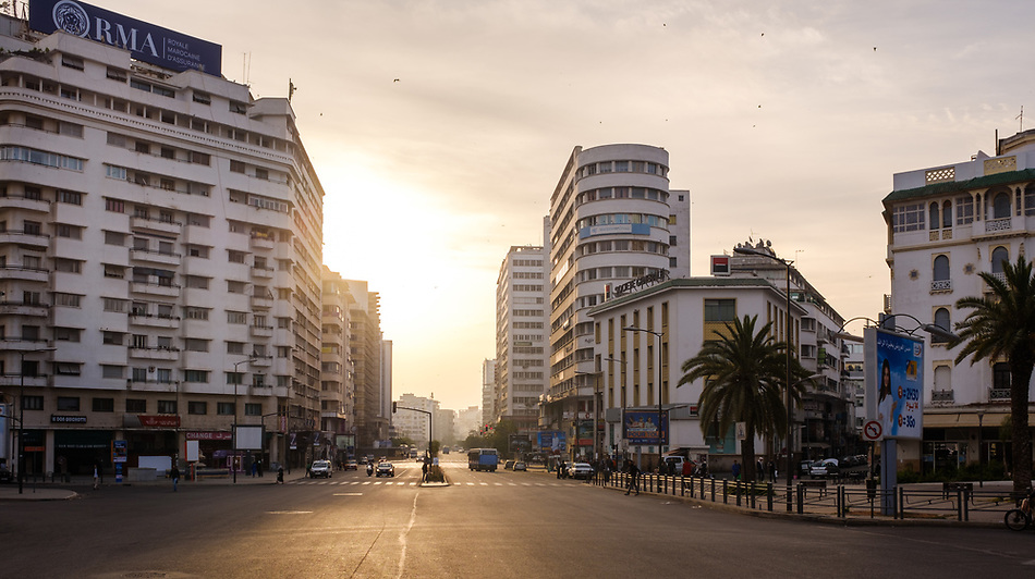 CASABLANCA, MOROCCO - CIRCA APRIL 2017: Avenue Des Far and Boulevard Hassan I in Casablanca early morning. (Daniel Korzeniewski)