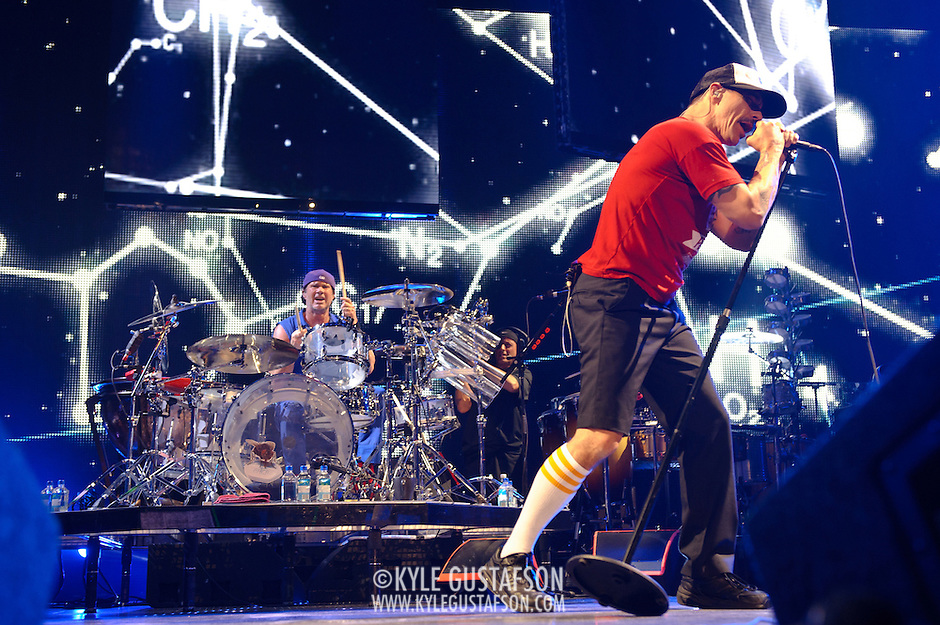 WASHINGTON, DC -  May 8th, 2012 - Chad Smith and Anthony Kiedis of the Red Hot Chili Peppers perform at the Verizon Center in Washington, D.C. The band was inducted into the Rock N Roll Hall Of Fame earlier this year and released their 10th studio album, I'm With You, in late 2011. (Photo by Kyle Gustafson/For The Washington Post) (Kyle Gustafson/For The Washington Post)
