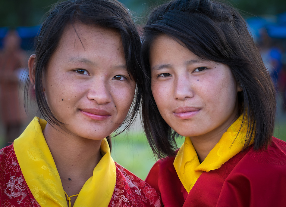 WANGDUE PHODRANG, BHUTAN - CIRCA OCTOBER 2014: Portrait of young Bhutanese girls looking at camera in Bhutan (Daniel Korzeniewski)