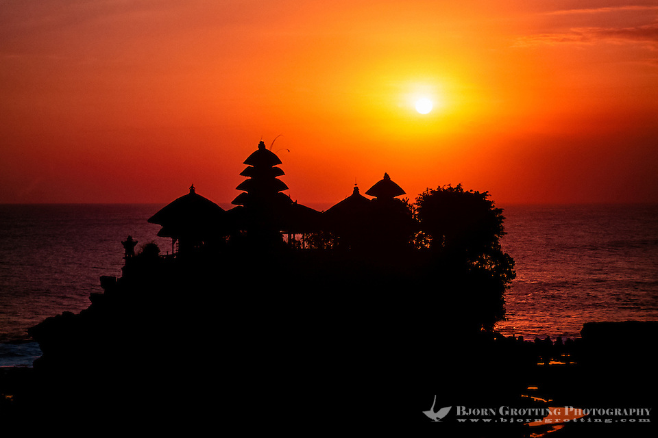 Bali, Tabanan, Tanah Lot. The Tanah Lot rock is the home of a pilgrimage temple, the Pura Tanah Lot. The sunsets here are famous. (Photo Bjorn Grotting)