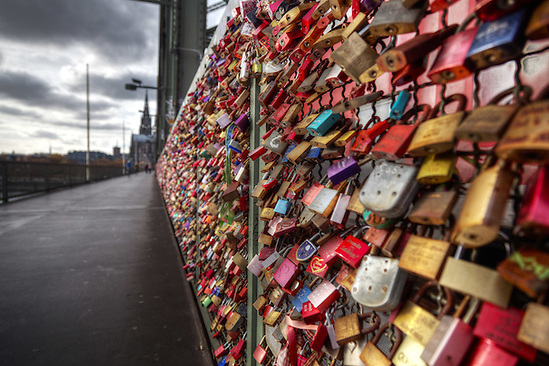 Love locks on Hohenzollern Bridge, Cologne, Germany, Europe (Brad Mitchell)
