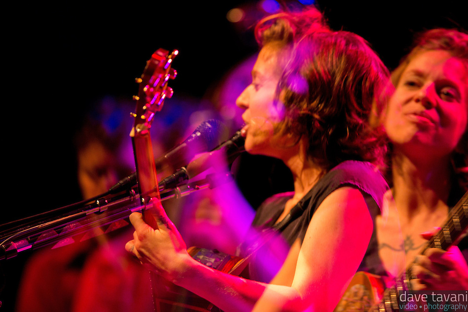 Ani DiFranco performs at the Keswick Theater in Glenside, PA. This is a multiple exposure shot, using the new multiple exposure feature on the Canon 5D mark III. (Dave Tavani)