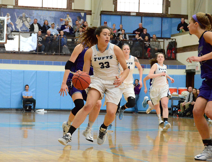 2/28/16 – Medford/Somerville, MA – Tufts forward Melissa Baptista, LA'18, runs the ball down the court in the women's basketball game against Amherst on Feb. 28, 2016. (Laura de Armas / The Tufts Daily) (Laura de Armas / The Tufts Daily)
