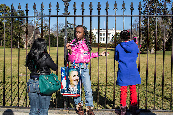 Theresa Jones, Kiyanta Colowney, 11, and Reshae Williams, 10, from left, visit the White House on Sunday, January 20, 2013 in Washington, DC. (Brendan Hoffman/Brendan Hoffman for the New York Times)