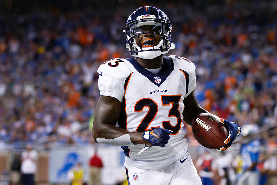 Denver Broncos running back Ronnie Hillman (23) rushes for a touchdown against the Detroit Lions during an NFL football game at Ford Field in Detroit, Sunday, Sept. 27, 2015. (AP Photo/Rick Osentoski) (Rick Osentoski/AP)