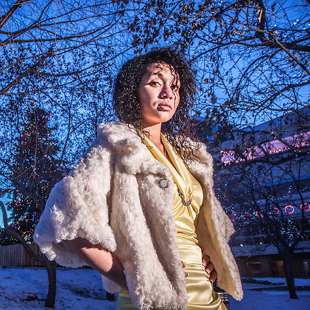 Rachael, a senior at Idea Home School, took a few minutes during a separate photographic session to pose for me at Town Square, downtown, Anchorage (Clark James Mishler)