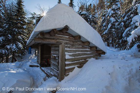 Beaver Brook Shelter along the Appalachian Trail (Beaver Brook Trail), on the north side of Mount Moosilauke, in Kinsman Notch of the White Mountains, New Hampshire USA during the winter months. This shelter is an Adirondack-style shelter, sleeps 8 hikers, and was built in 1993/1994.