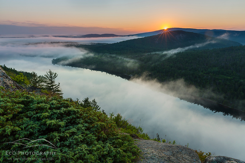 Fog and Echo Lake at sunrise in Maine's Acadia National Park. (Jerry and Marcy Monkman)