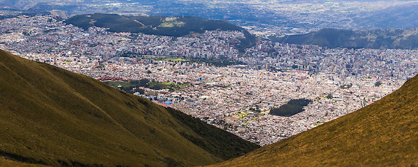 Panorama of City of Quito seen from the Pichincha Volcano, Ecuador