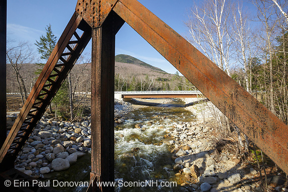 Route 302 bridge in Harts Location, New Hampshire from Forth Iron railroad bridge. These bridges cross the Sawyer River in the White Mountains.