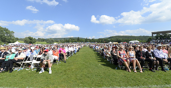 COOPERSTOWN, NY - JULY 27:  A general view of the estimated 48,000 fans in attendance during the 2014 HOF induction ceremonies held at the Clark Sports Center in Cooperstown, New York on July 27 2014. (Ron Vesely)