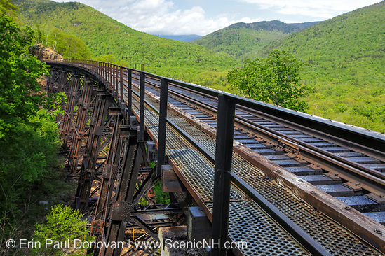 Crawford Notch State Park - Frankenstein Trestle  along the Maine Central Railroad in the White Mountains, New Hampshire USA. Chartered in 1867 as the Portland & Ogdensburg Railroad Company then leased to the Maine Central Railroad in 1888 and later abandoned in 1983. Since 1995 the Conway Scenic Railroad, which provides passenger excursion trains has been using the track.