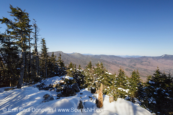 April 2016 - View from the summit of Mount Tecumseh in Waterville Valley, New Hampshire during the month of April. Over the last few years, vandalism (illegal tree cutting) has improved this summit view point.