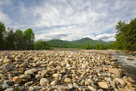 East Branch of the Pemigewasset River during the spring months from along the Riverwalk Trail in Lincoln, New Hampshire.