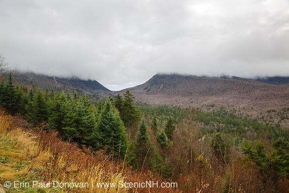 View from a pulloff along the Kancamagus Highway (route 112) in the White Mountains, New Hampshire USA during a cloudy day day in November.