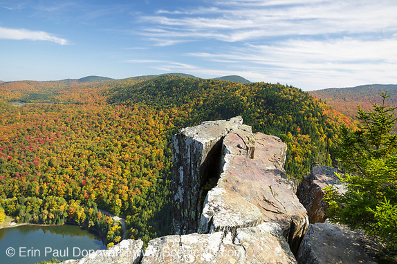 Dixville Notch in Dixville, New Hampshire USA from Table Rock during the autumn months.
