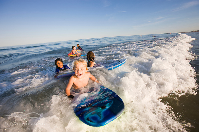 Kids on boogie boards at Hampton Beach in Hampton Beach, New Hampshire. (Jerry and Marcy Monkman)