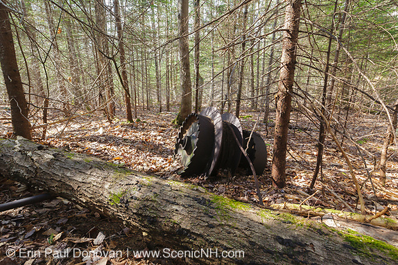 Trailside along the Lincoln Brook Trail are possibly the hoisting system of an old steam-powered crane or steam shovel near the end of the Camp 9 spur line of the East Branch & Lincoln Railroad (1893-1948) in the Pemigewasset Wilderness of the New Hampshire White Mountains.