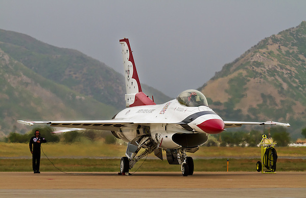 Thunderbird jet preparing to takeoff. (Clint Losee)