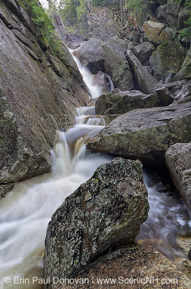 Just below Upper Georgiana Falls in Lincoln, New Hampshire. These falls are located along Harvard Brook and are also referred to as Harvard Falls.