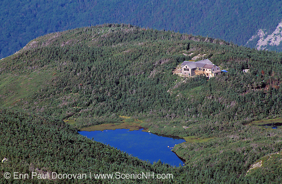 Appalachian Trail - Greenleaf Hut from North Lafayette, which is in the White Mountain National Forest of New Hampshire, USA. Eagle Lake is in the foreground.