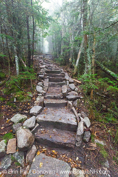 September 2016 - Newly built stone steps along the Mount Tecumseh Trail in Waterville Valley, New Hampshire.