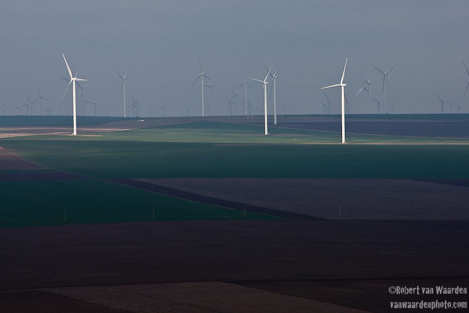 The 600mw Fantanele-Cogealac wind farm in Romania as seen from the Casian Monastery. (Robert van Waarden)