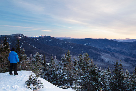 Scenic view from the summit of Mount Tecumseh in Waterville Valley, New Hampshire during winter months.