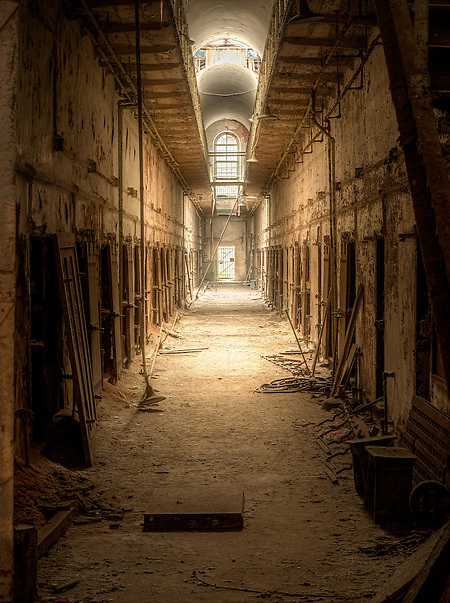 Abandoned hallway inside of Eastern State Penitentiary in Philadelphia PA. (Walter Arnold)