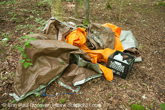 """Poor """"Leave No Trace"""" habits on the the side a Sawyer River Trail in the White Mountains, New Hampshire USA."""