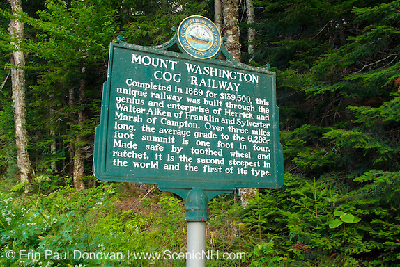 Mount Washington Cog Railway sign  located in the White Mountain National Forest of New Hampshire.