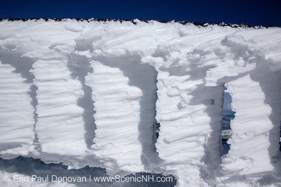 Appalachian Trail - Rime ice on the summit of Mount Washington during the winter months in the White Mountains, New Hampshire.