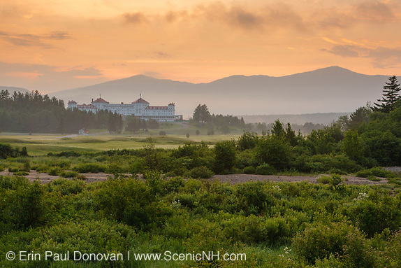The Mount Washington Resort in Bretton Woods, New Hampshire at sunrise during the summer months.