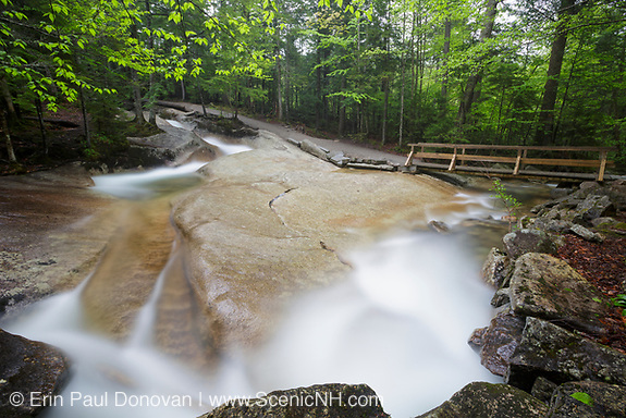 "Franconia Notch State Park - The Pemigewasset River in the area of ""The Basin"" viewing area in Lincoln, New Hampshire USA during the spring months."