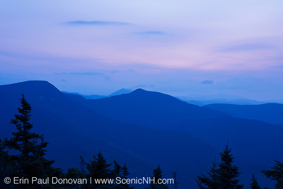 Morning blue hour from the summit of Mount Tecumseh in Waterville Valley, New Hampshire.