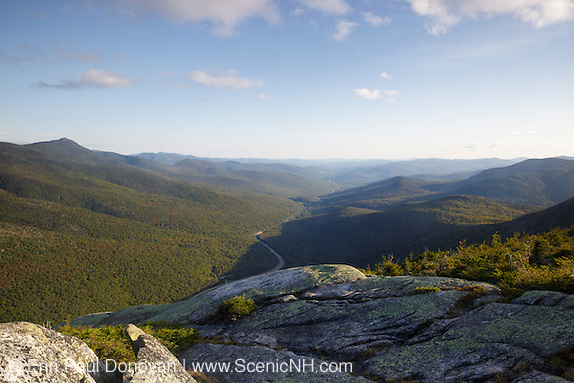 Scenic viewpoint along Kinsman Ridge Trail in Franconia Notch State Park of the White Mountains, New Hampshire USA during the summer months.