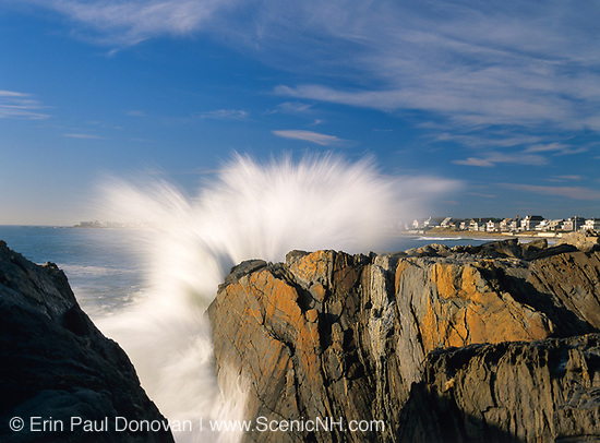 Waves from the Atlantic Ocean crashing the rocky shoreline in Rye, New Hampshire.