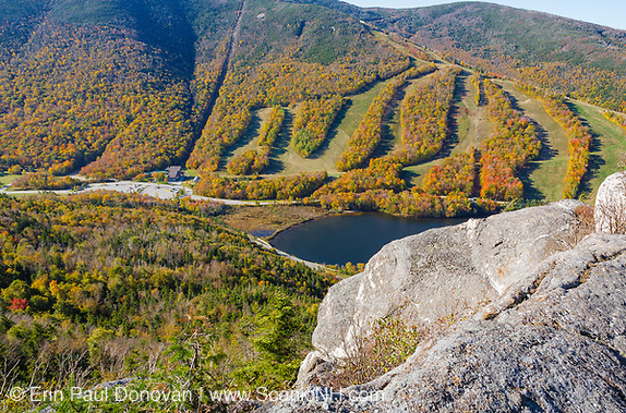 Cannon Mountain from Eagle Cliff in the White Mountains of New Hampshire during the autumn months.