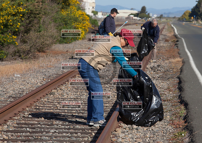 """<span class=""""dropcap"""">N</span>early 45 volunteers participated in a community clean-up day on Mare Island. Vallejo residents from on an off the island, plus members of Fighting Back Partnership, Global Center for Success and City of Vallejo participated in the group effort. (Kim Kulish)"""