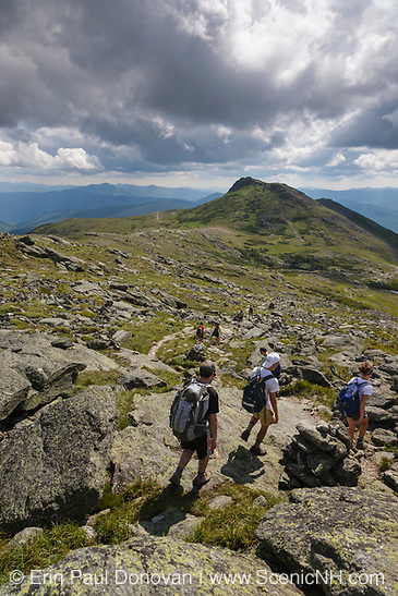Human Element - Group of hikers on a warm summer day along the Tuckerman Crossover Trail in the White Mountains of New Hampshire. Mount Monroe is in the background and clouds fill the sky.