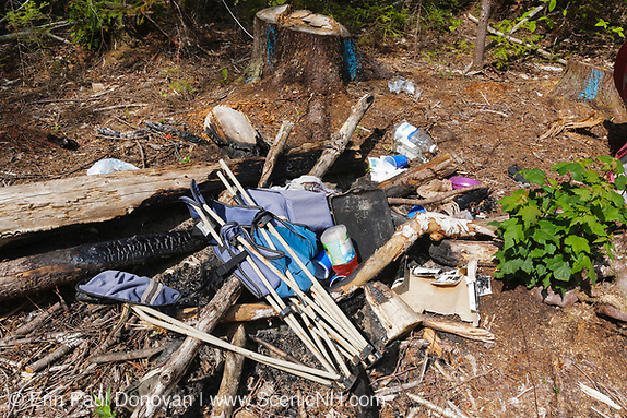 Poor leave no trace ethics on Fire road 511 along the Kancamagus Highway in the White Mountains, New Hampshire. This road has many campgrounds but campers still prefer to camp off in the woods. Most outdoors enthusiasts hate seeing this type of destruction to the forest.