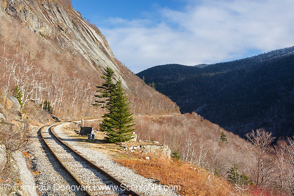 Crawford Notch State Park - Location of the Mt. Willard Section House, which was at the end of the Willey Brook Trestle along the old Maine Central Railroad in the White Mountains, New Hampshire USA. This section house was built by the Maine Central Railroad in 1887 to house the section foreman and crew who maintained the track. From 1903-1942 the Hattie Evans family lived at the house, it was destroyed by fire in 1972.