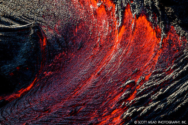 Molten lava in form of a wave, Volcano National Park, Kilauea, Big Island, Hawaii (Scott Mead)