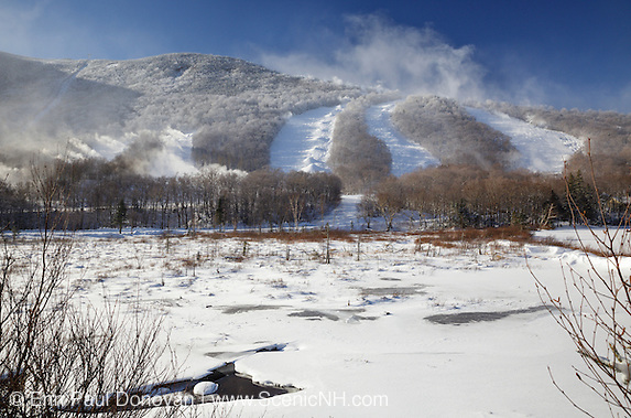 Franconia Notch State Park - Snow making at Cannon Mountains in the White Mountains, New Hampshire USA during the winter months.
