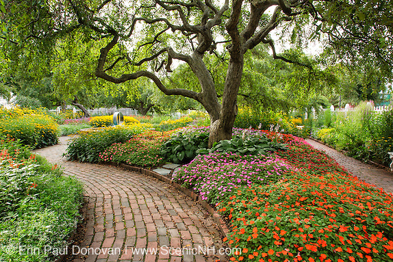 Flower gardens during the summer months at Prescott Park in Portsmouth, New Hampshire USA.