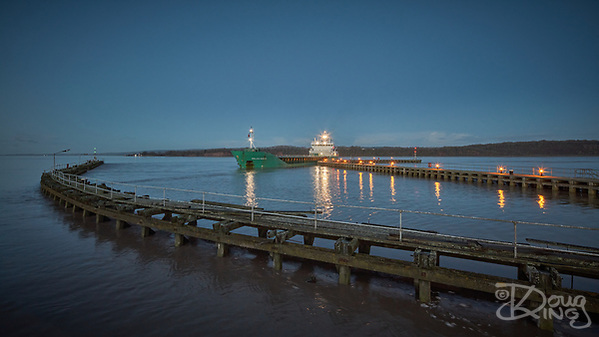 The cement freighter Arklow Raider arrives on a dawn high tide at Sharpness Docks on the River Severn (Doug King)
